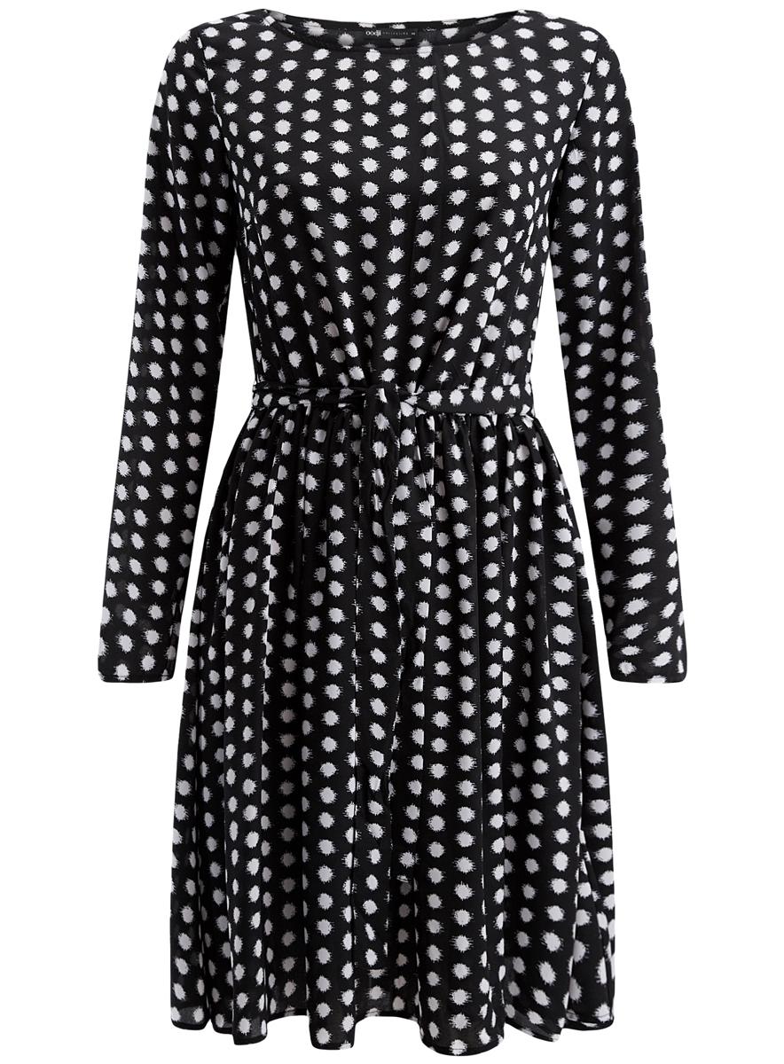 Платье oodji Collection, цвет: черный, белый горох. 21901157/38313/2910D. Размер 38 (44-170) платье oodji collection цвет черный белый 24001104 1 35477 1079s размер l 48
