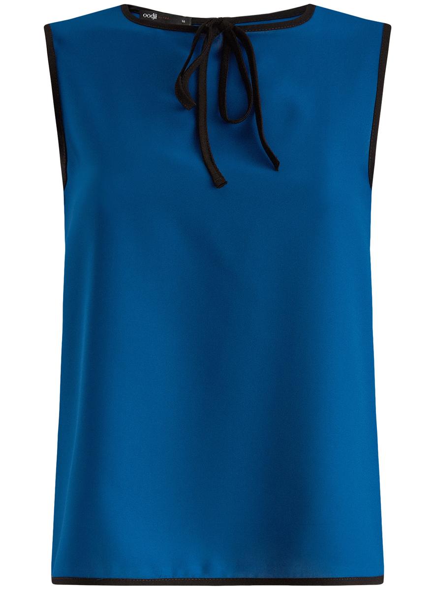Блузка женская oodji Ultra, цвет: синий, черный. 11411047/42405/7529B. Размер 42-170 (48-170)11411047/42405/7529BМодная женская блузка oodji Ultra изготовлена из высококачественного полиэстера.Модель с круглым вырезом горловины и без рукавов застегивается на пуговицу, расположенную на спинке. Проймы рукавов, вырез горловины и низ изделия оформлены контрастной бейкой. Нижняя часть изделия по боковым швам дополнена небольшими разрезами. Спереди вырез горловины украшен декоративным бантиком.