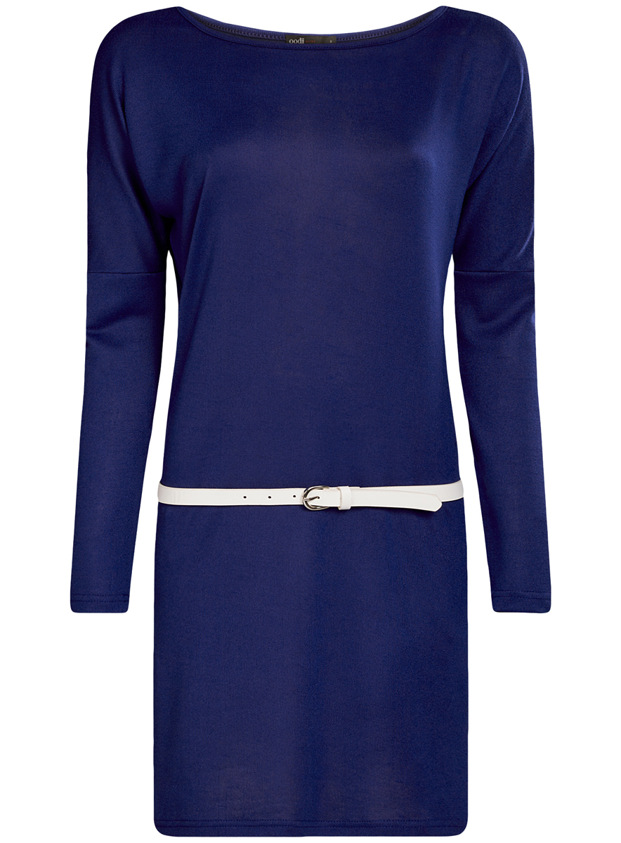 Платье oodji Ultra, цвет: синий. 14008010/15640/7500N. Размер S (44)
