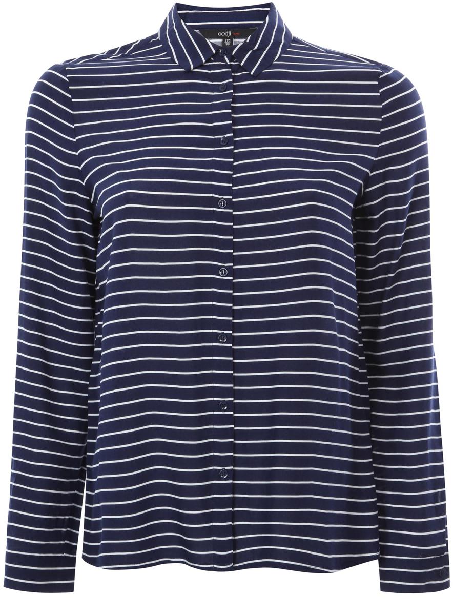 Рубашка женская oodji Ultra, цвет: темно-синий, белый. 11411098-2/24681/7912S. Размер 38 (44-170)
