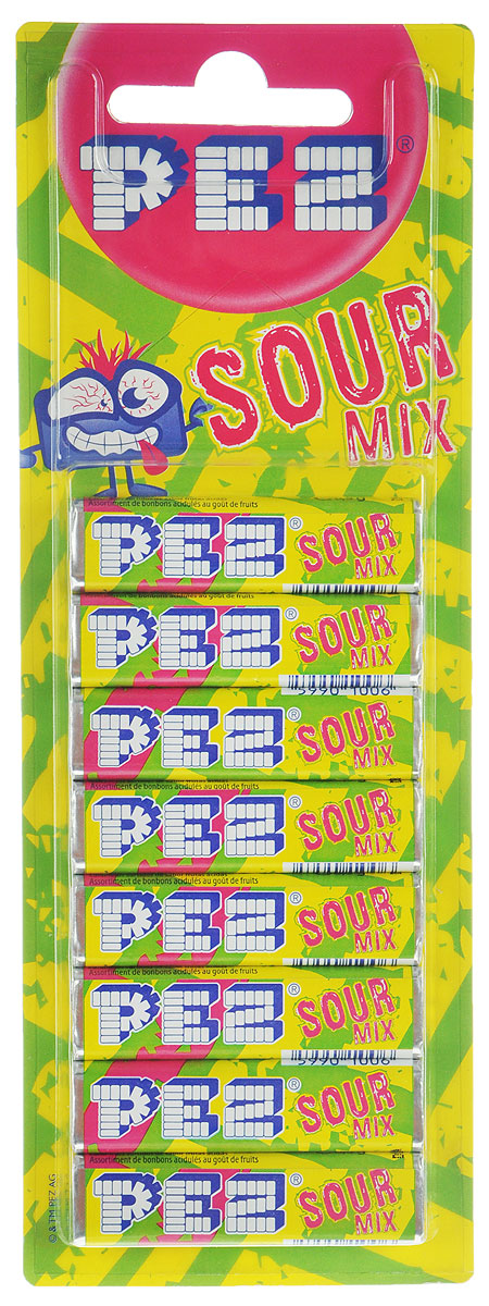 PEZ Sour Mix конфеты, 8 шт52487PEZ Sour Mix - конфеты с различными вкусами, красящие язык в разные цвета: синий (ежевика), красный (арбуз), желтый (ананас), зеленый (яблоко). Продаются в наборе из 8 штук.Уважаемые клиенты! Обращаем ваше внимание на то, что упаковка может иметь несколько видов дизайна. Поставка осуществляется в зависимости от наличия на складе.
