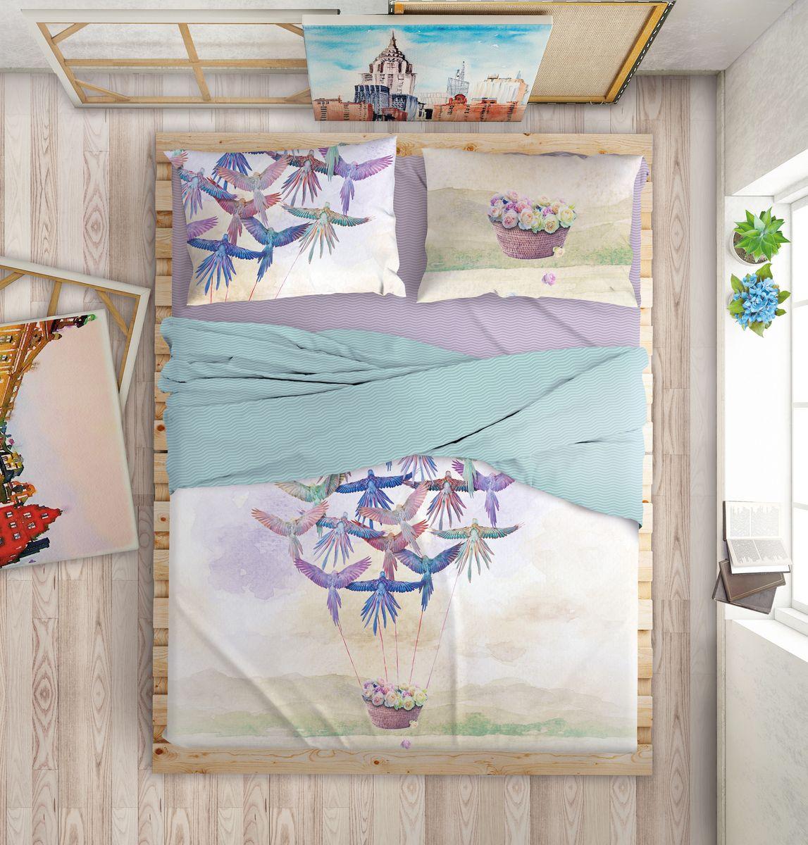 """Комплект белья Love Me """"Happiness"""", 1,5-спальный, наволочки 50х70, цвет: синий, фиолетовый"""