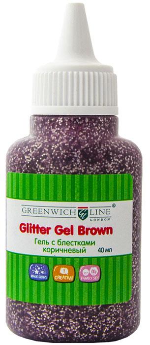 Greenwich Line Гель-краска с блестками цвет коричневый 40 мл