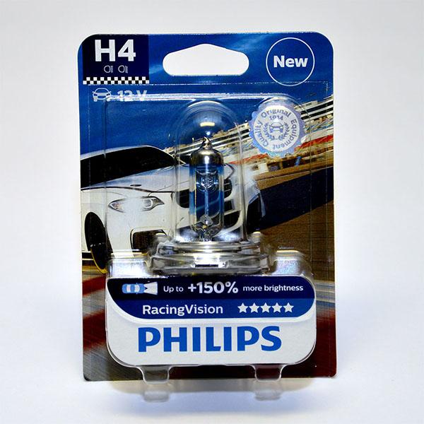 Лампа автомобильная галогенная Philips RacingVision +150, цоколь H4, 60 Вт12342RVB1Галогеновая лампа Philips RacingVision +150, самая яркая лампа, разрешенная для использования на дорогах.Особенности: Повышение яркости света до 150%*. Позволяет видеть дальше и реагировать быстрее. Оптимизированы для зимнего освещения. Управляя машиной на большой скорости на плохо освещенных проселочных дорогах, вы вынуждены полагаться на производительность фар. Если перед вами неожиданно появляется препятствие,главное - время реакции. Даже доля секунды может серьезно повлиять на вашу безопасность. Превосходные характеристики луча ламп Philips RacingVision +150 позволяют быстрее определять опасную ситуацию и не терять управление автомобилем - независимо от дорожных условий.