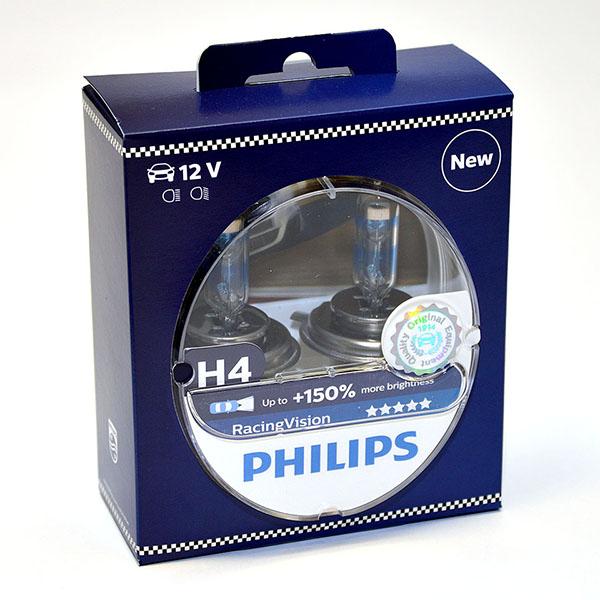 Лампа автомобильная галогенная Philips RacingVision +150, цоколь H4, 60 Вт, 2 шт12342RVS2Галогеновая лампа RacingVision, самая яркая лампа, разрешенная для использования на дорогах ? Повышение яркости света до 150%*? Позволяет видеть дальше и реагировать быстрее? Оптимизированы для зимнего освещенияУправляя машиной на большой скорости на плохо освещенных проселочных дорогах, вы вынуждены полагаться на производительность фар. Если перед вами неожиданно появляется препятствие,главное — время реакции. Даже доля секунды может серьезно повлиять на вашу безопасность. Превосходные характеристики луча ламп Philips RacingVision позволяют быстрее определять опасную ситуацию и не терять управление автомобилем — независимо от дорожных условий.