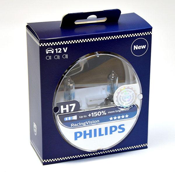 Лампа автомобильная галогенная Philips RacingVision +150, цоколь H7, 12V- 55W (PX26d), 2 шт12972RVS2Галогеновая лампа RacingVision, самая яркая лампа, разрешенная для использования на дорогах ? Повышение яркости света до 150%*? Позволяет видеть дальше и реагировать быстрее? Оптимизированы для зимнего освещенияУправляя машиной на большой скорости на плохо освещенных проселочных дорогах, вы вынуждены полагаться на производительность фар. Если перед вами неожиданно появляется препятствие,главное — время реакции. Даже доля секунды может серьезно повлиять на вашу безопасность. Превосходные характеристики луча ламп Philips RacingVision позволяют быстрее определять опасную ситуацию и не терять управление автомобилем — независимо от дорожных условий.