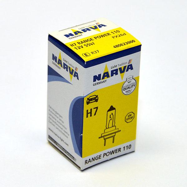 Лампа автомобильная галогенная Narva RangePower +110, цоколь H7, 55 Вт480623000Новые лампы Narva Range Power 110 улучшенная видимость до 110%. Благодаря мощному световому лучу водители смогут видеть дальше. За счет особой конструкции горелки мощность световогопотока возрастает, что повышает безопасность и эффективность лампы.