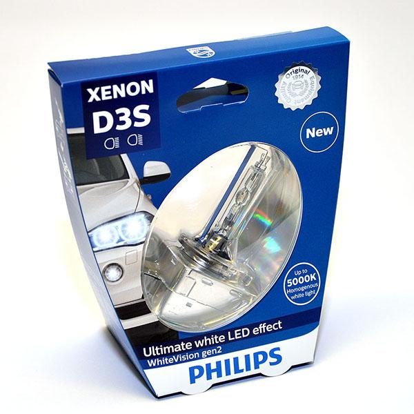 Лампа автомобильная ксеноновая Philips WhiteVision gen2, цоколь D3S, 85 Вт. 42403 WHV2S142403 WHV2S1? Мощный равномерный яркий белый свет ? Идеально сочетается со светодиодным освещением вашей машины? Белый свет до 5000K на дороге? Улучшение видимости на 120%*? Лампа, разрешенная для использования на дорогах общего пользованияС лампами Philips Xenon WhiteVision gen2 машина становится более заметной, а освещение дороги более ярким и равномерным. Xenon WhiteVision gen2 — идеальный выбор, если вы хотите сочетать ксенон со светодиодным освещением автомобиля.