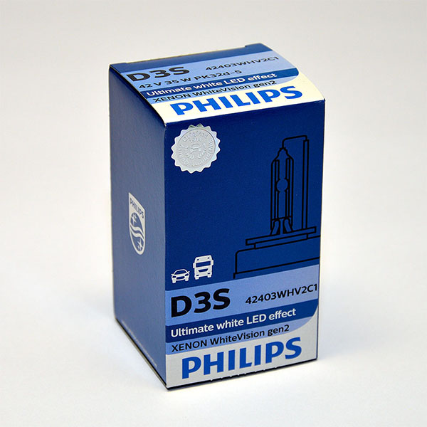 Лампа автомобильная ксеноновая Philips WhiteVision gen2, цоколь D3S, 85 Вт42403 WHV2C1С лампами Philips WhiteVision gen2 машина становится более заметной, а освещение дороги более ярким и равномерным. Лампы Philips WhiteVision gen2 - идеальный выбор, если вы хотите сочетать ксенон со светодиодным освещением автомобиля.Особенности: Мощный равномерный яркий белый свет. Идеально сочетается со светодиодным освещением вашей машины. Белый свет до 5000K на дороге. Улучшение видимости на 120%*. Лампа разрешена для использования на дорогах общего пользования.