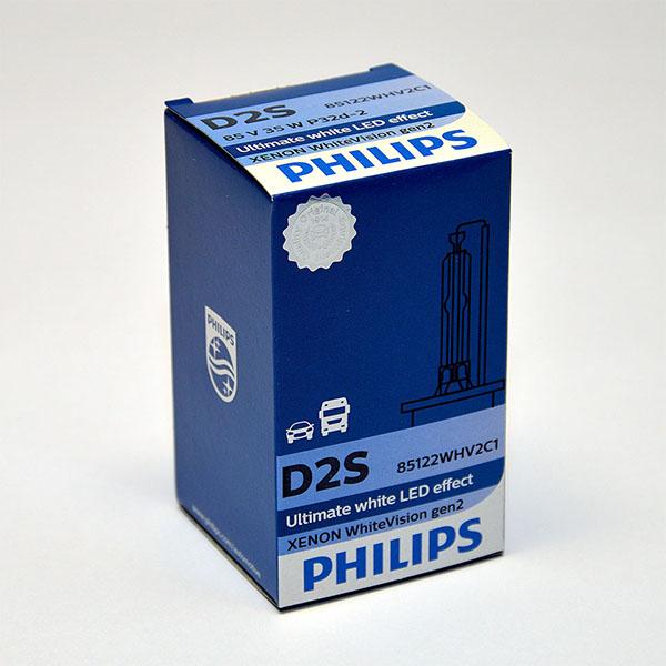 Лампа автомобильная ксеноновая Philips WhiteVision gen2, цоколь D2S, 85 Вт85122 WHV2C1? Мощный равномерный яркий белый свет ? Идеально сочетается со светодиодным освещением вашей машины? Белый свет до 5000K на дороге? Улучшение видимости на 120%*? Лампа, разрешенная для использования на дорогах общего пользованияС лампами Philips Xenon WhiteVision gen2 машина становится более заметной, а освещение дороги более ярким и равномерным. Xenon WhiteVision gen2 — идеальный выбор, если вы хотите сочетать ксенон со светодиодным освещением автомобиля.
