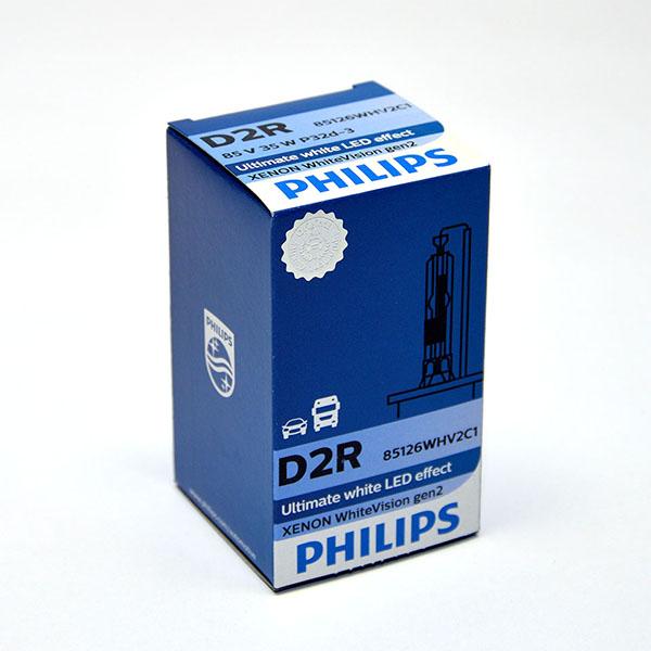 Лампа автомобильная ксеноновая Philips WhiteVision gen2, цоколь D2R, 85 Вт85126 WHV2C1? Мощный равномерный яркий белый свет ? Идеально сочетается со светодиодным освещением вашей машины? Белый свет до 5000K на дороге? Улучшение видимости на 120%*? Лампа, разрешенная для использования на дорогах общего пользованияС лампами Philips Xenon WhiteVision gen2 машина становится более заметной, а освещение дороги более ярким и равномерным. Xenon WhiteVision gen2 — идеальный выбор, если вы хотите сочетать ксенон со светодиодным освещением автомобиля.