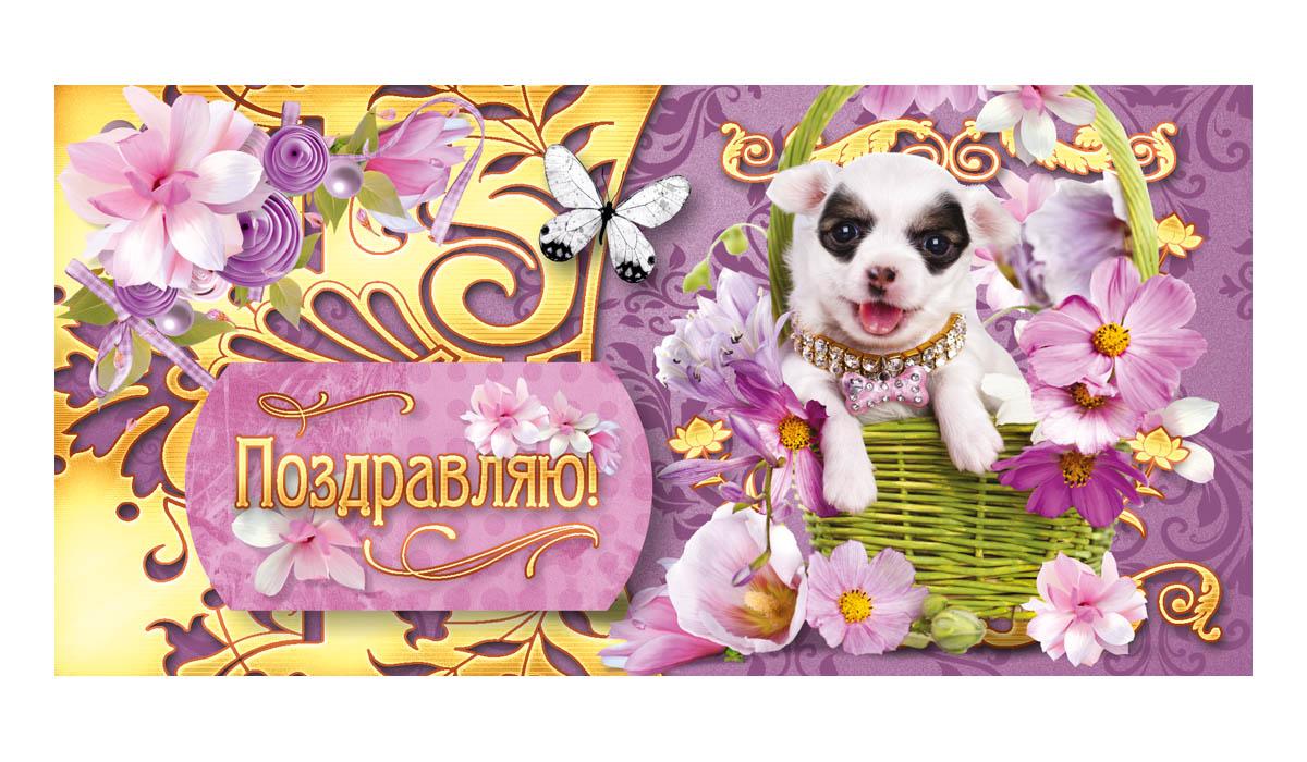Конверт для денег Поздравляю. 16611661Конверт для денег Поздравляю выполнен из плотной бумаги и украшен яркой картинкой. Это необычная красивая одежка для денежного подарка, а так же отличная возможность сделать его более праздничным и создать прекрасное настроение!