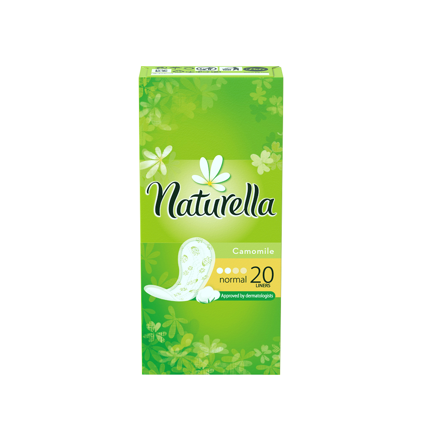 Naturella Женские гигиенические прокладки на каждый день Camomile Normal Single 20штNT-83730610Сохрани свежесть в течение всего дня с ежедневными прокладками Naturella Normal. Эти воздухопроницаемые ежедневные прокладки толщиной 0,9 мм с мягким, как лепесток, верхним слоем и легким ароматом, вдохновленным самой природой, обеспечивают свежесть и комфорт каждый день.Одобренные дерматологическим институтом proDERM ежедневные прокладки Naturella каждый день обеспечивают заботу о женской гигиене, которой можно доверять. Одобренные дерматологическим институтом proDERM ежедневные прокладки Naturella каждый день обеспечивают заботу о женской гигиене, которой можно доверять. Ежедневные прокладки Naturella отлично защищают нижнее белье при выделениях из влагалища, нерегулярном цикле и выделениях перед менструацией.Во время менструации обязательно воспользуйтесь прокладками Naturella для усиленной защиты. Супермягкий верхний слой обеспечивает дополнительный комфорт в интимной зоне Воздухопроницаемые и тонкие как лепесток (0,9 мм) Дышащий верхний слой и легкий аромат ромашки для ежедневной свежести Одобрено дерматологами всемирно известного немецкого института proDERM и гарантируют женщинам надежную защиту, которой можно доверять
