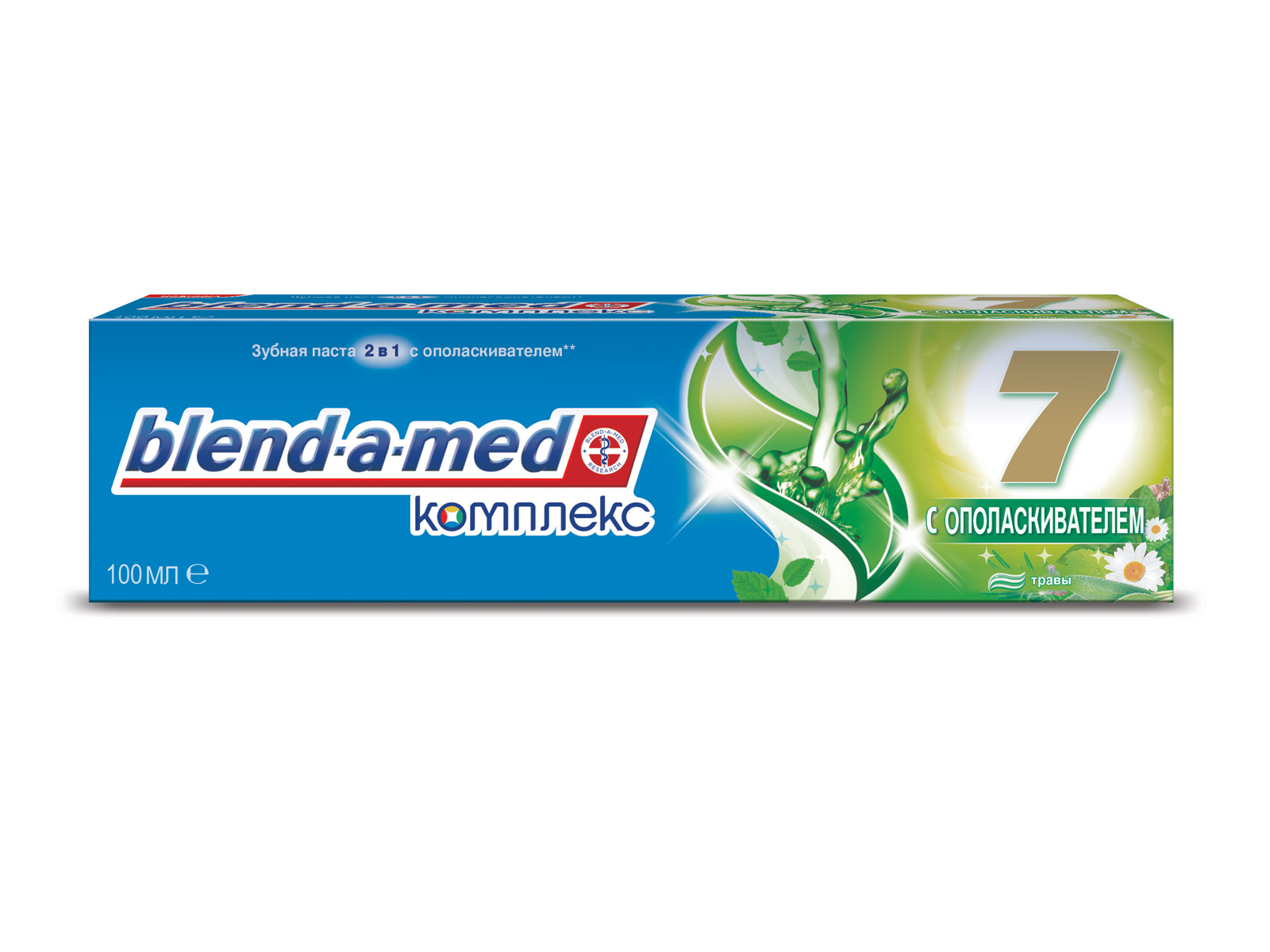 Blend-a-med Зубная паста Комплекс 7 Травы с ополаскивателем, 100 млУТ000029228Дары природы и новейшие технологии по уходу за деснами!Blend-a-med Комплекс 7 + Травы: - Объединяет дары природы и новейшие технологии Blend-a-med. - Содержит экстракты шалфея, ромашки, мелиссы, розмарина и мяты для активного ухода за деснами. Зубные пасты Blend-a-med Комплекс 7 защищают по семи признакам: - Бактериальный налет.- Кариес зубов.- Проблемы дёсен. - Кариес корня.- Зубной камень. - Тёмный налёт. - Несвежее дыхание. Комплекс 7 обеспечивает быструю, простую и легкую защиту всей полости рта, и вы можете наслаждаться жизнью, не беспокоясь о здоровье ваших зубов! Ощутите бодрящий эффект травяного сбора из семян аниса, эвкалипта и мяты в Blend-a-med Комплекс 7 + Травы. Blend-a-med рекомендует использовать зубную пасту Комплекс 7 + Травы с зубной щеткой Oral-B Комплекс.. Попробуйте новый Blend-a-med Комплекс 7 Травы с ополаскивателем. - Обеспечивает качественный уход за здоровьем полости рта. - Комплексная защита всё полости рта. - При регулярном применении помогает улучшить состояние полости рта. - Комплекс 7 обеспечивает быструю, простую и легкую защиту всей полости рта, и вы можете наслаждаться жизнью, не беспокоясь о здоровье ваших зубов. Срок хранения – 3 года. «Проктер энд Гэмбл», Германия.