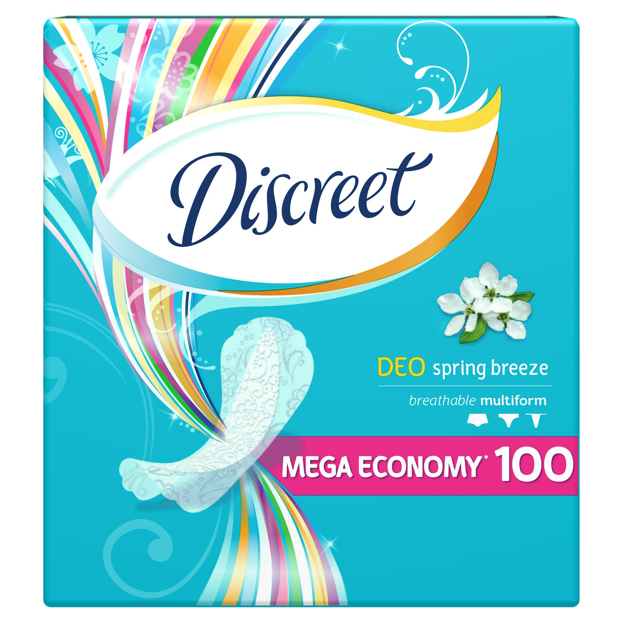 Discreet Женские гигиенические прокладки на каждый день Deo Spring Breeze Multiform 100шт ПрепКороб цена