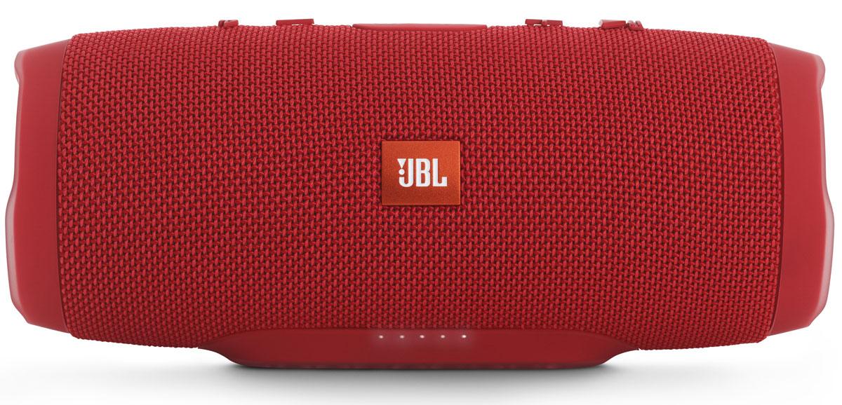 JBL Charge 3, Red портативная акустическая системаJBLCHARGE3REDEUУникальная беспроводная портативная акустическая система JBL Charge 3 гарантирует мощный стерео-звук и источник энергии в одном устройстве. Благодаря водонепроницаемому прорезиненному тканевому корпусу вечеринку с Charge 3 можно устроить в любом месте - у бассейна и даже под дождем. Аккумулятор высокой емкости на 6000 мАч гарантирует бесперебойную работу в течение 15 часов и позволяет заряжать смартфоны и планшеты по USB. Встроенный микрофон с шумо- и эхоподавлением гарантирует идеально чистый звук во время телефонных разговоров по нажатию одной кнопки. Подключайте дополнительные колонки с поддержкой JBL Connect по беспроводному соединению для еще более мощного звука.Как выбрать портативную колонку. Статья OZON Гид