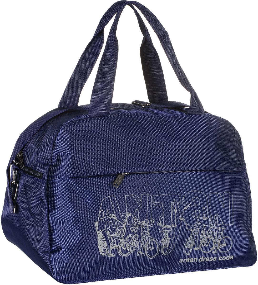 Сумка дорожная Аntan Bike, цвет: темно-синий. 2-1682-168Вместительная дорожная сумка Аntan Bike, выполненная из полиэстера, оформлена на лицевой стороне фирменным принтом.Изделие имеет одно отделение, которое закрывается на застежку-молнию. Снаружи, на передней стенке расположен прорезной карман на застежке-молнии.Сумка оснащена двумя удобными ручками. В комплект входит съемный регулируемый плечевой ремень. Изделие имеет жесткое основание.