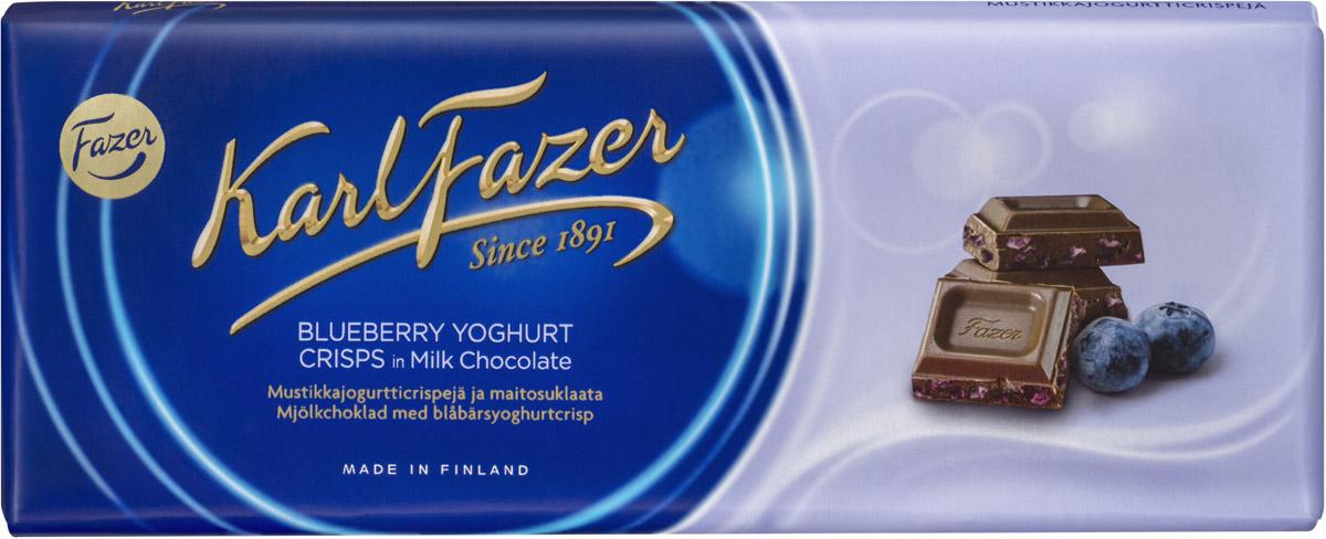 Karl Fazer Молочный шоколад с криспами черничного йогурта, 190 г волшебница золотой орех шоколад темный с миндалем 190 г