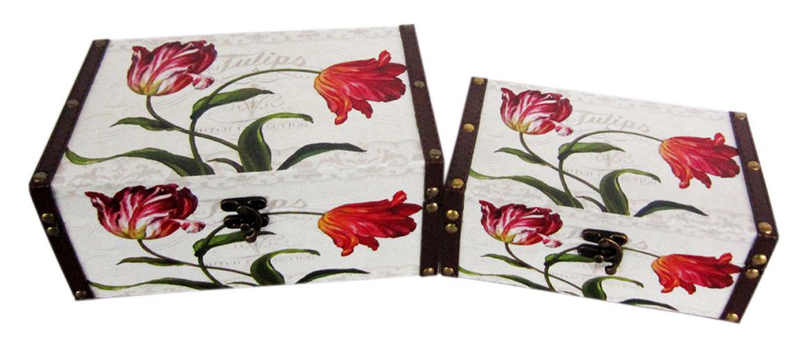 Набор шкатулок для рукоделия Тюльпаны, 24х16х10 см, 20х12х8 см. TL47717715148