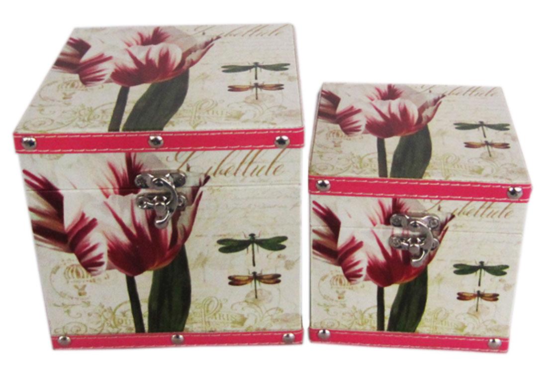 Набор шкатулок для рукоделия Стрекозы в саду, 15х15х15 см, 12х12х12 см. TL48087715151