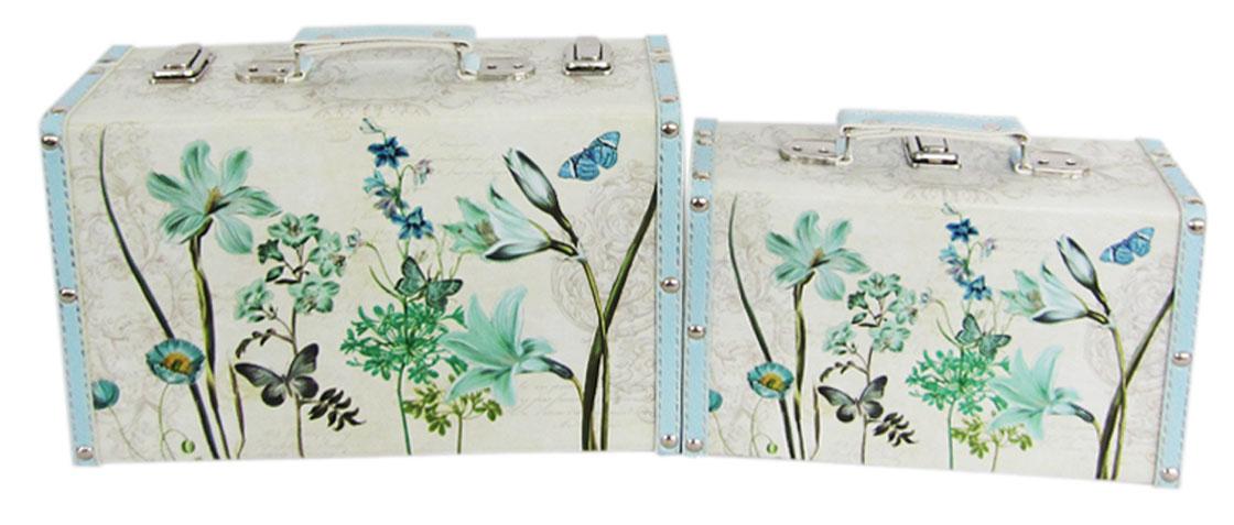 Набор шкатулок для рукоделия Бирюзовый луг, 30х10х19 см, 24х8х15 см. TL48727715157