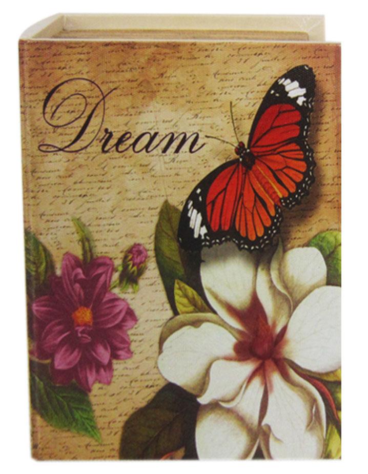 Шкатулка для рукоделия Мечта, 20 х 15 х 6 см771516501Шкатулка Мечта изготовлена из МДФ, картона и холщовой ткани и оснащена крышкой. Изделие декорировано изображением цветов и бабочки. Внутри шкатулка обтянута тканью коричневого цвета. Изящная шкатулка с ярким дизайном предназначена для хранения мелочей, принадлежностей для шитья и творчества и других аксессуаров. Она красиво оформит интерьер комнаты и поможет хранить ваши вещи в порядке.