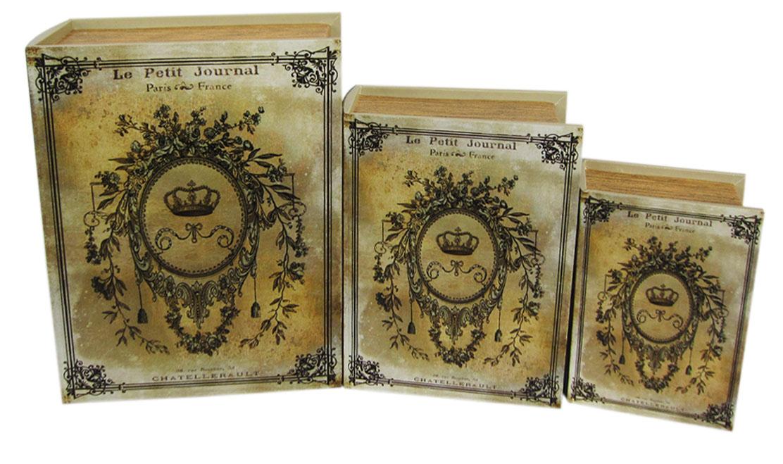 Набор шкатулок для рукоделия Старинный дневник, 30х23х8 см, 24х18х6,5 см, 19х13х5 см. TL45497715166