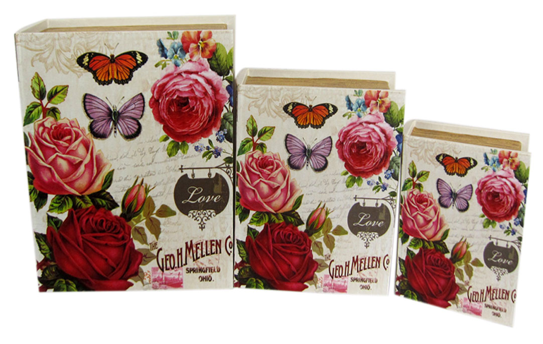 Набор шкатулок для рукоделия Бабочки в розах, 30х23х8 см, 24х18х6,5 см, 19х13х5 см. TL45557715167