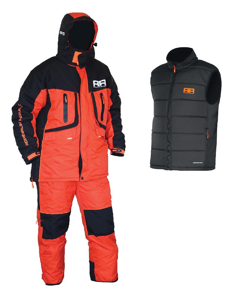 Костюм рыболовный Adrenalin Republic Evergulf 3in1, цвет: рыжий, черный. 89913. Размер M (44/46)Evergulf 3in1Костюм разработан на базе отлично зарекомендовавшей себя модели ROVER, выполнен в яркой гамме и предназначен для температур до -25 градусов. Главной особенностью данной модели является наличие плавающего жилета в комплекте с костюмом. Благодаря использованию системы застежек-молний плавающий жилет легко и просто пристегивается к основной куртке для страховки в случае падения в воду. Костюм Adrenalin Republic EVERGULF 3in1 Floating - надежная защита от холода, а также отличная страховка на зимней рыбалке! Особенности пристегиваемого плавающего жилета: - Можно носить как отдельно, так и пристегнутым к основной куртке; - Специальный материал наполнителя жилета способен удержать человека на поверхности воды. Материал: Водонепроницаемость 5000 мм Дышащая способность материала: 7000 г/м2/24 час Утеплитель куртка/брюки: 200/150 г/м2