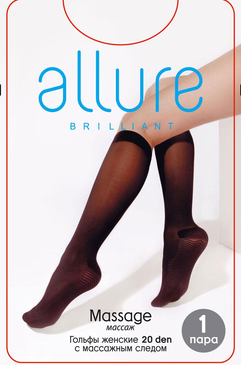 Гольфы Allure Massage 20, цвет: Nero (черный). Размер универсальныйMassage 20Эластичные гольфы с массажным следом и резинкой топ-комфорт. За счет неоднородной поверхности обеспечивают мягкий точечный массаж стопы.