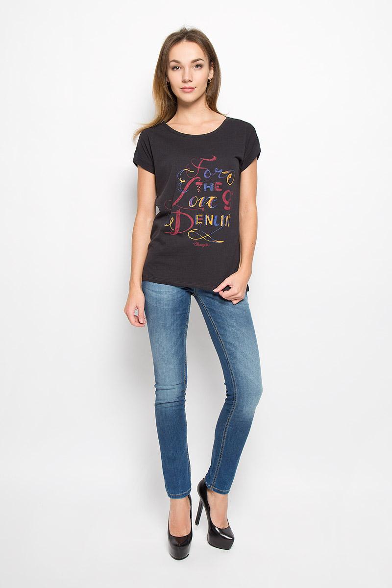 Футболка женская Wrangler, цвет: черный. W7307DSBU. Размер M (46) футболка жен wrangler цвет белый w7350ev12 размер xs 40
