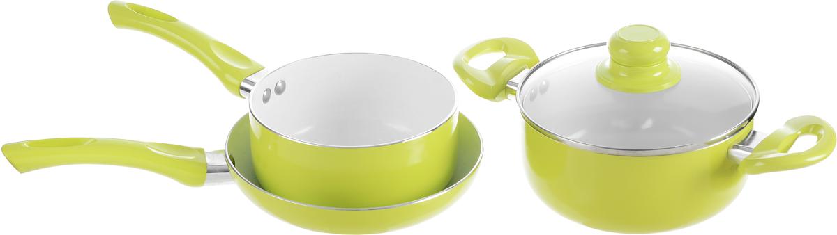 """Набор посуды """"Calve"""" включает ковш, сковороду и  кастрюлю с крышкой. Набор выполнен из  высококачественного алюминия с внутренним  керамическим покрытием. Данное покрытие не содержит  примеси PFOA, экологично и безопасно для здоровья.  Высокая прочность покрытия позволяет ему  выдерживать температуру до 450°С, также можно  использовать металлические лопатки - покрытие  устойчиво к появлению царапин и повреждениям.  Внешнее цветное покрытие выдерживает высокие  температуры.  Посуда снабжена бакелитовыми не нагревающимися  ручками удобной формы. Посуда равномерно  нагревается и доводит блюда до готовности. Крышка  изготовлена из жаропрочного стекла.  Посуда подходит для всех типов плит, кроме  индукционных. Можно мыть в посудомоечной машине.   Диаметр сотейника: 16 см.  Объем сотейника: 1,5 л.  Высота стенки сотейника: 7,5 см.  Длина ручки сотейника: 17 см.  Диаметр сковороды: 20 см.  Высота стенки сковороды: 4 см.  Длина ручки сковороды: 16,5 см.  Диаметр кастрюли: 18 см.  Объем кастрюли: 2,2 л.  Высота стенки: 8 см.  Ширина кастрюли (с учетом ручек): 32,5 см."""