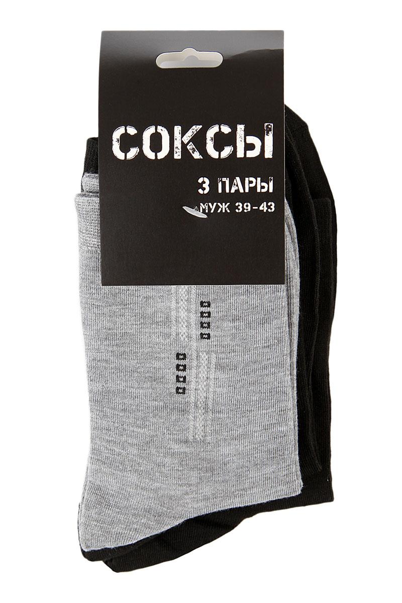 Комплект носков мужских Соксы, цвет: серый, черный, 3 пары. 012. Размер 39/43012Носки Соксы изготовлены из полиэстера с добавлением эластана, комфортных при носке. Эластичная резинка плотно облегает ногу, не сдавливая ее, обеспечивая комфорт и удобство.