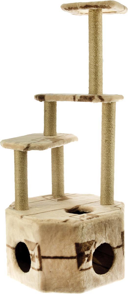 """Домик-когтеточка Меридиан """"Высотка"""", 4-ярусный, цвет: светло-бежевый, коричневый, 51 х 51 х 123 см"""