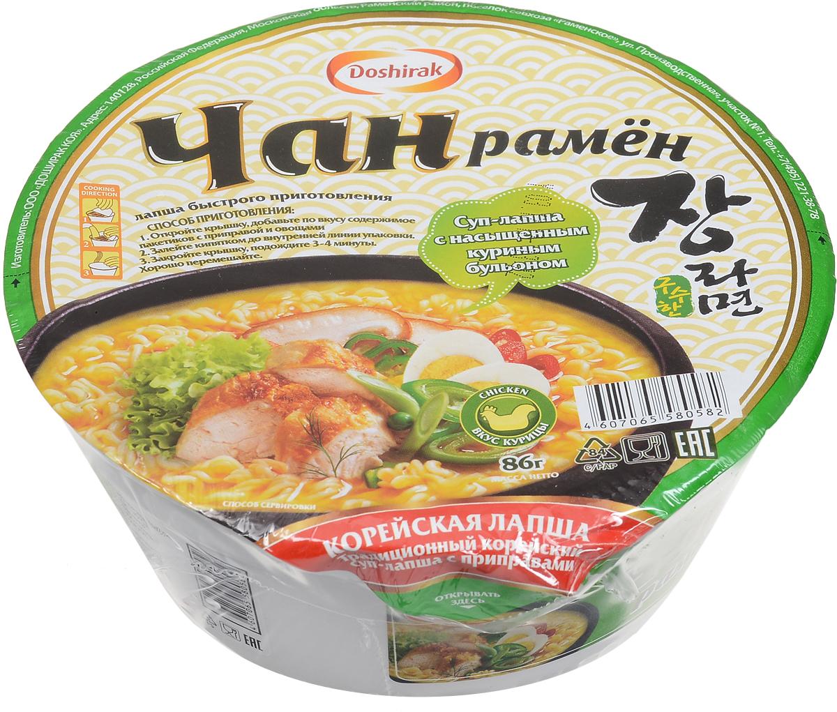 Doshirak Чан рамен лапша быстрого приготовления со вкусом курицы в чашке, 86 г4607065580582Лапша быстрого приготовления, стоит лишь залить кипятком.
