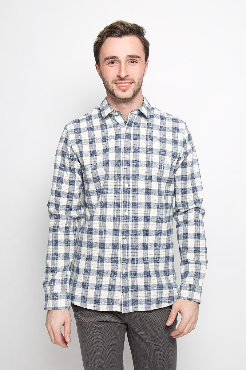 Рубашка мужская Selected Homme, цвет: темно-синий, молочный. 16052131. Размер XL (50) футболка мужская selected