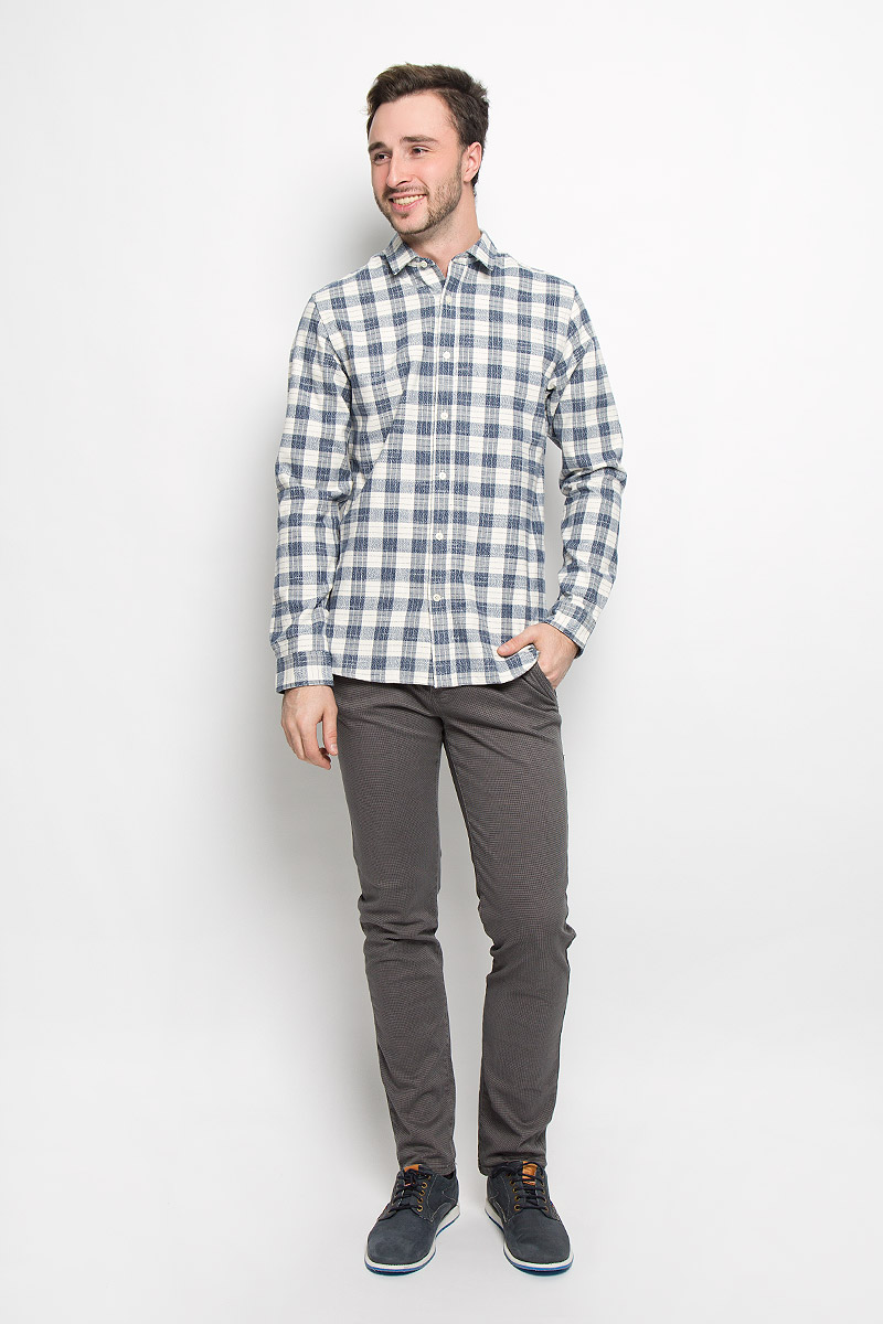 Рубашка мужская Selected Homme, цвет: темно-синий, молочный. 16052131. Размер XXL (52) водолазка мужская selected homme цвет серый 16053105 размер xl 50