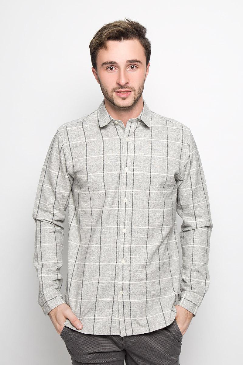 Рубашка мужская Selected Homme, цвет: серый, молочный. 16052131. Размер XL (50) футболка мужская selected