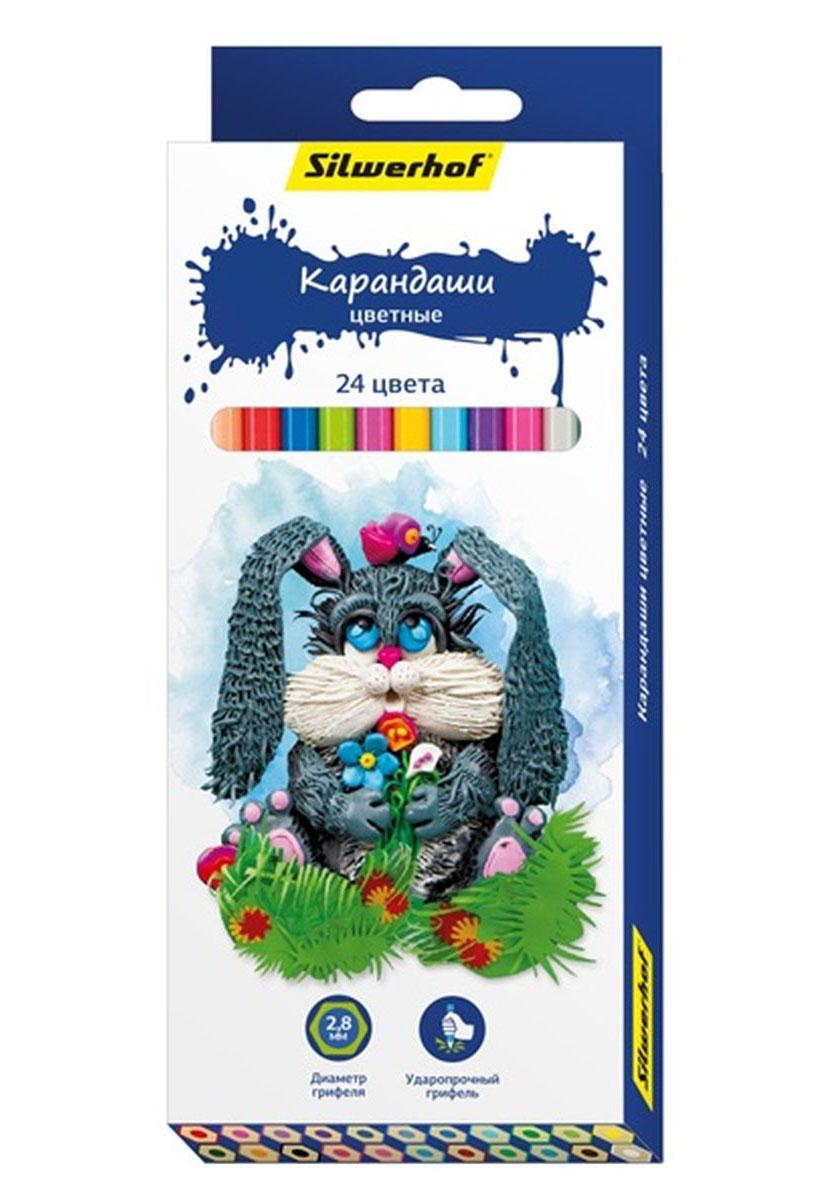 Silwerhof Карандаши цветные Пластилиновая коллекция 24 цвета134195-24Карандаши Silwerhof Пластилиновая коллекция станут хорошим подарком для маленьких начинающих художников.Шестигранный корпус изготовлен из натурального дерева. Благодаря специальной обработке, многослойной прокраске и лакировке, карандаши легко затачиваются, и их приятно держать в руках. Карандаши поставляются заточенными. В наборе 24 карандаша.