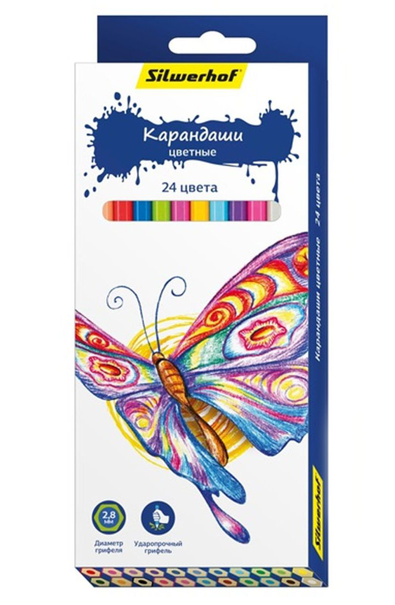 Silwerhof Карандаши цветные Бабочки 24 цвета134196-24Цветные карандаши Silwerhof Бабочки с шестигранным корпусом изготовлены из натурального дерева. Такой набор поможет отлично развить мелкую моторику рук, цветовое восприятие, фантазию и воображение.Диаметр грифеля 2,8 мм. Карандаши поставляются заточенными.В наборе 24 карандаша ярких, насыщенных цветов.