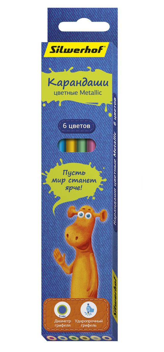 Silwerhof Карандаши цветные Джинсовая коллекция с эффектом Metallic 6 цветов134204-06С помощью цветных карандашей Silwerhof Джинсовая коллекция.Metallic дети могут создавать необычные рисунки. Особенно эффектными получаются изображения, выполненные на темной или черной бумаге.Корпус цветных карандашей выполнен из натурального дерева.Благодаря специальной обработке, многослойной прокраске и лакировке, карандаши легко затачиваются, и их приятно держать в руках.Грифель карандашей – мягкий.Карандаши поставляются в картонной коробке с европодвесом.В набор входят шесть карандашей разных цветов.