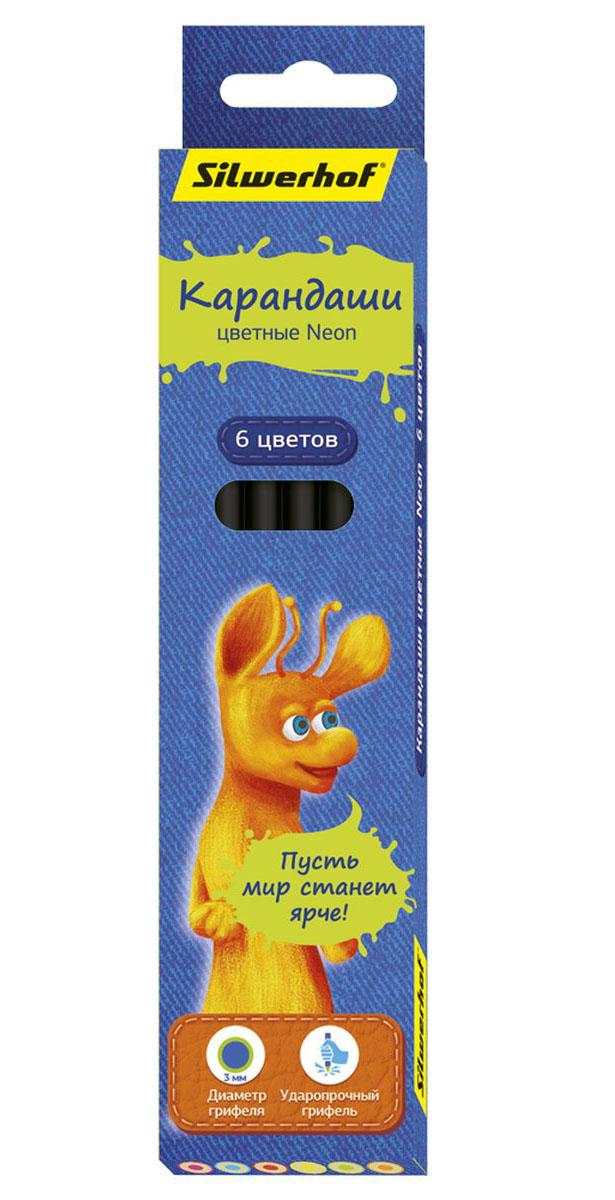 Silwerhof Карандаши цветные Джинсовая коллекция с эффектом Neon 6 цветов игрушки для детей