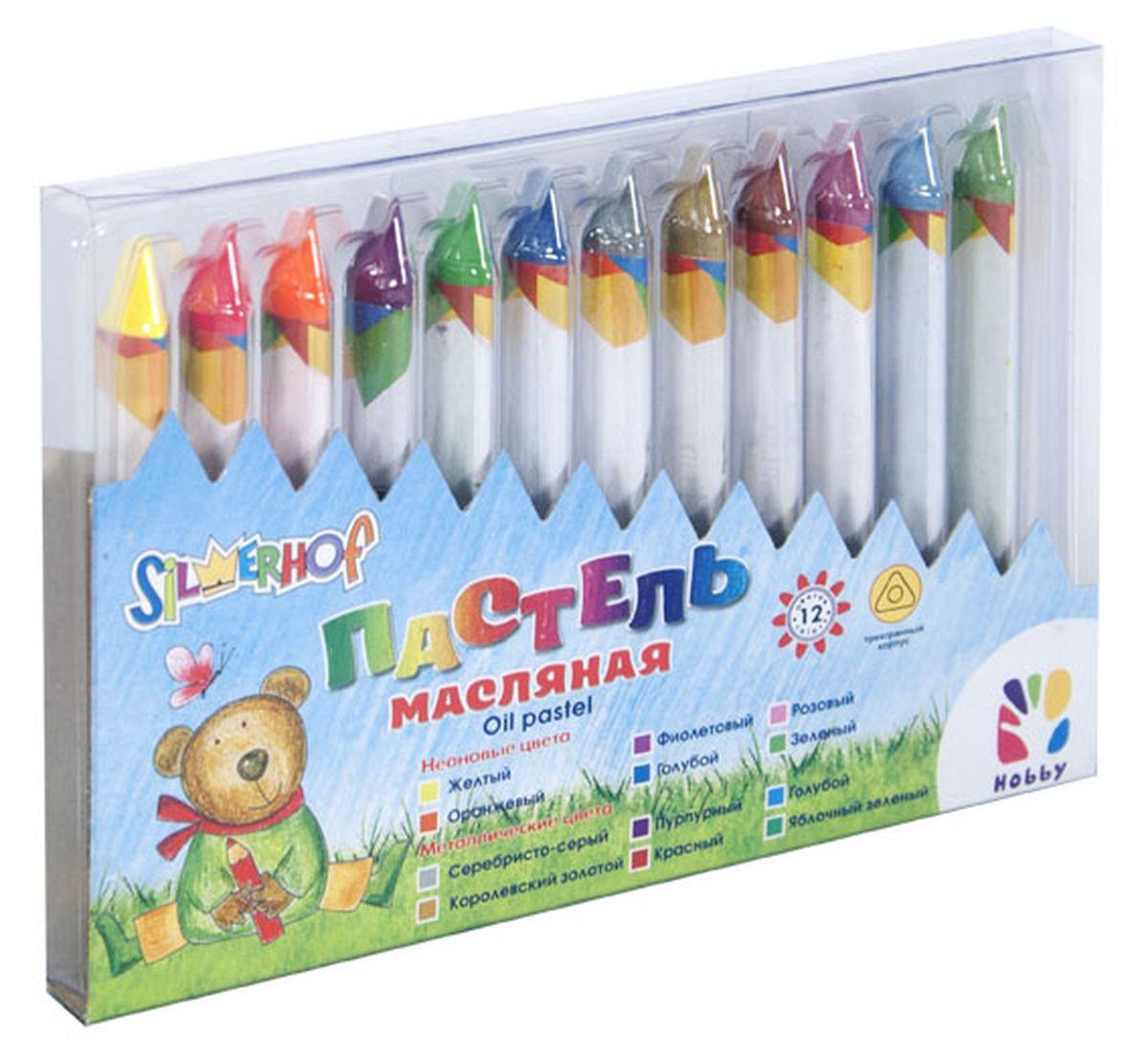 Silwerhof Пастель масляная Hobby Neon Metallic 12 цветов885004-12Набор Silwerhof содержит масляную пастель (12 ярких активных цветов). Пастель выполнена в виде мелков треугольной формы, каждый из которых обернут в бумажную гильзу.Масляной постелью Silwerhof Hobby можно рисовать в любой технике - в сочетании с цветными карандашами и красками. При работе рекомендуется использовать шероховатые поверхности - специальную бумагу, картон, холст.