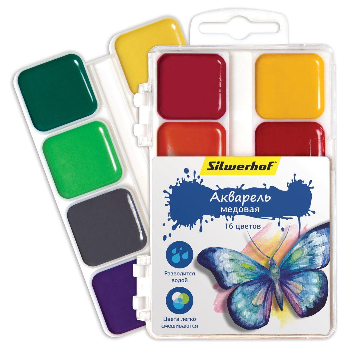 Silwerhof Акварель медовая Бабочки 16 цветов961124-16Медовая акварель Silwerhof Бабочки идеально подходит для детского творчества и живописных работ на бумаге и картоне.Яркие и насыщенные цвета красок. Все цвета легко смешиваются между собой, образуя целый спектр новых оттенков. Краски легко разводятся водой, быстро высыхают.Состав: декстрин, глицерин дистиллированный, сахар, мел, пигменты, консервант, вода питьевая.