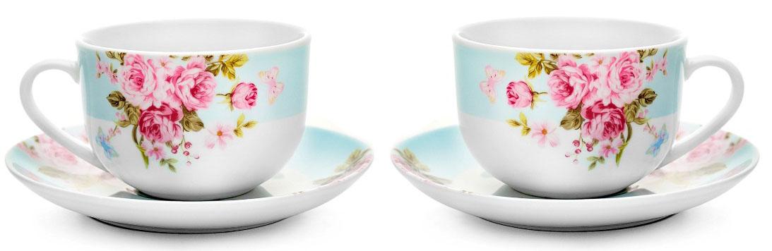 """Чайный набор """"Mirabella"""" состоит из 2 чашек и 2 блюдец, изготовленных из  высококачественного фарфора. Оригинальный яркий дизайн, несомненно,  придется вам по вкусу. Набор украсит ваш кухонный стол, а также станет замечательным  подарком к любому празднику. Объем чашки: 220 мл."""