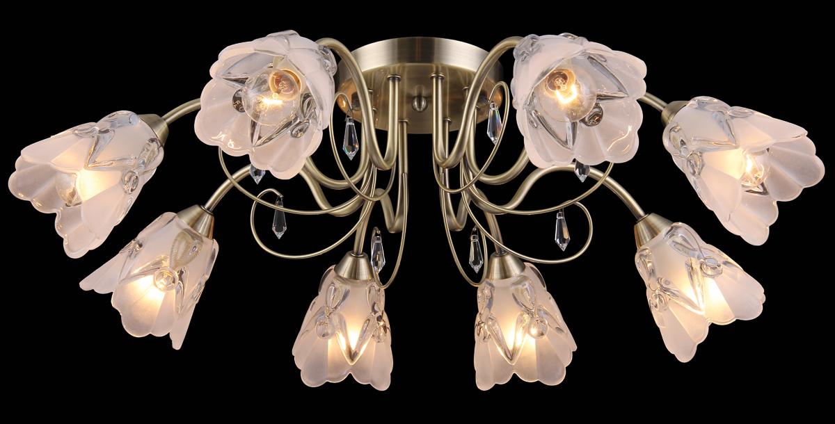 Люстра Natali Kovaltseva, 8 x E14, 60W. 11431/8С11431/8С ANTIQUEЛюстра Natali Kovaltseva, выполненная в классическом дизайне, станет украшением вашей комнаты и изысканно дополнит интерьер. Изделие крепится к потолку. Такая люстра отлично подойдет для освещения кабинета, столовой, спальни или гостиной. Люстра выполнена из металла и оснащена 8 плафонами из матового стекла, декорированными оригинальным рельефом.