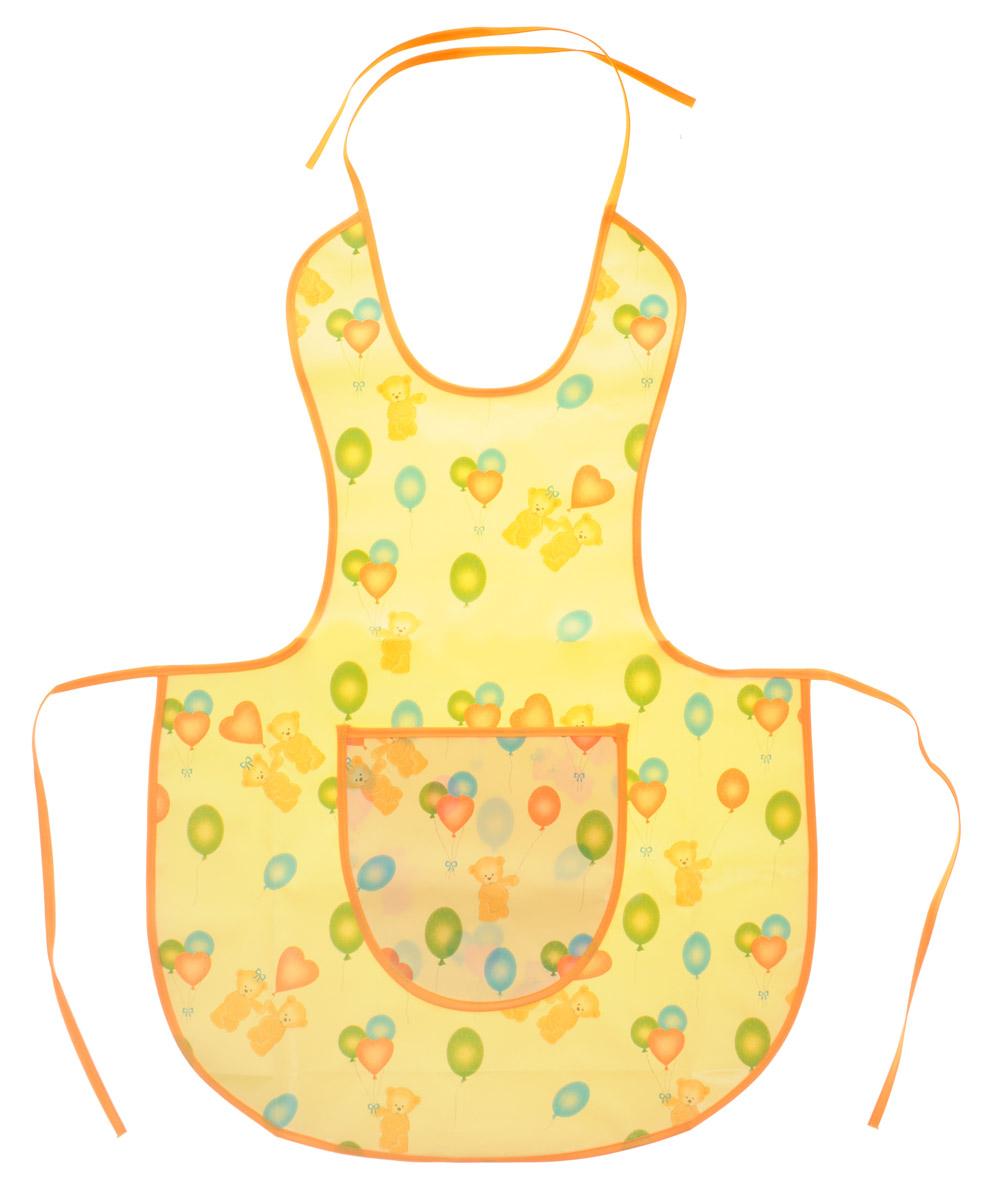 Колорит Фартук защитный цвет желтый оранжевый 64 см х 44 см0070_желтый, оранжевыйЗащитный фартук для творчества Колорит предназначен для защиты одежды ребенка при рисовании красками, лепке из пластилина и других творческих занятиях на улице и дома. Фартук защитный изготовлен из клеенки подкладной с ПВХ покрытием, рекомендованной к медицинскому применению. Тканая основа фартука и тонкий слой ПВХ-покрытия снаружи обеспечивают воздухопроницаемость изделия. Шелковые завязочки для регулировки фартука по размеру не раздражают нежную кожу ребенка.Удобный, практичный и прочный фартук не промокает, легко моется и быстро сушится. Материал: клеенка, ПВХ.