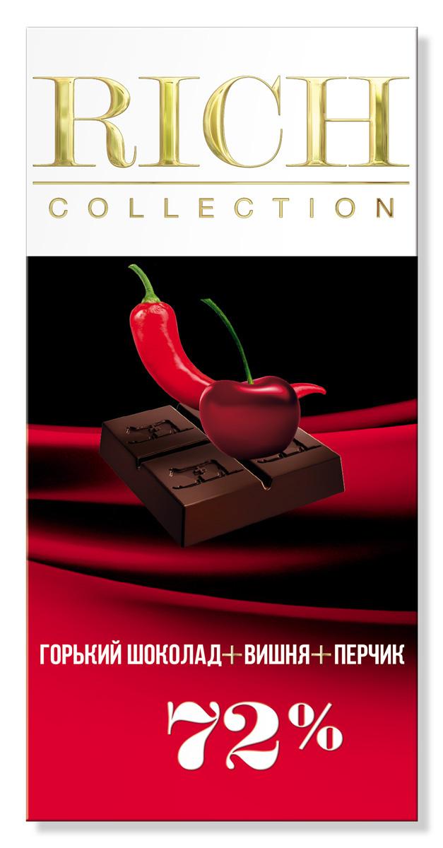 Rich Шоколад горький с вишней и кайенским перцем, 70 г14.2700В основе рецептуры этого шоколада – идеальное сочетание французской вишни и кайенского перца.