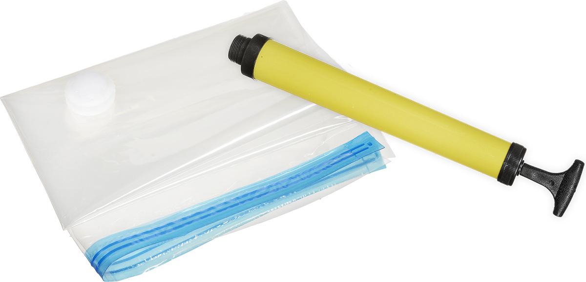 """Набор """"Спэйс Мастер"""" предназначен для рационального и безопасного хранения текстильных вещей. За счет удаления воздуха из волокон ткани, любая текстильная вещь (одежда, одеяла и пледы, подушки, пуховики, полотенца и т.д.), помещенная в вакуумный пакет, сокращается в объемах и размерах до 70% без повреждения ее качества. Благодаря тому, что вещь хранится в вакууме, она не сминается, не портится и остается защищенной от негативного воздействия окружающих факторов (пыль, грязь, насекомые, плесень, неприятные запахи и пр.). После извлечения из пакета вещь принимает первоначальный вид и объем. Набор состоит из 11 пакетов и идеален для хранения свитеров, пальто, курток, пуховиков, рубашек, подушек, одеял, полотенец и других вещей. Каждый пакет имеет герметичную и водонепроницаемую конструкцию, сделан из прозрачного материала для быстрого определения содержимого. Хранение вещей в вакуумных пакетах """"Спэйс Мастер"""" увеличит свободное пространство в шкафу, в чемодане, на полках и т.д. В набор входят: - 2 больших пакета для хранения объемных вещей - 80 х 100 см;- 3 средних пакета для хранения верхней одежды, пледов, полотенец - 60 х 80 см;- 4 маленьких пакета для хранения рубашек, футболок, свитеров и прочей одежды - 45 х 60 см;- 2 специальных пакета без клапанов для удобства перевозки вещей - 45 х 56 см;- ручной насос - 29 см (длина)."""