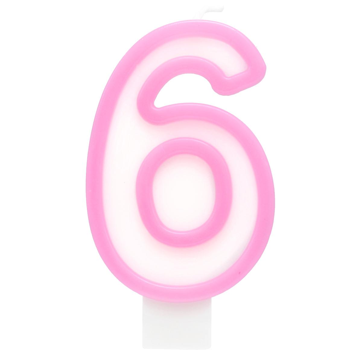Action! Свеча-цифра для торта 6 лет цвет розовый susy card свеча цифра для торта радужная 6 лет